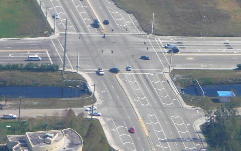 Busy T-shaped intersection with moderate traffic volume