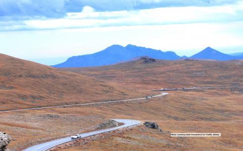 Desert road with many switchbacks