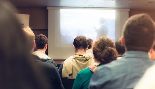 Classroom training with presentation screen
